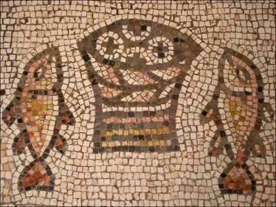 Fish and bread mosaic from Tagbha
