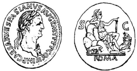 Coin with Vespasian, minted AD 71