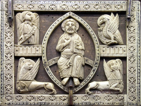Thirteenth century ivory carving of Christ surrounded by the four living creatures from the MusŽe national du Moyen-åge