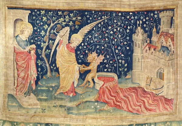 Blood flowing from the great winepress of God's wrath, no.55 from 'The Apocalypse of Angers', 1373-87 (tapestry)